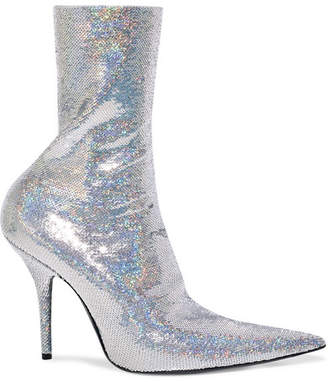 Balenciaga Knife Sequined Spandex Sock Boots - Silver