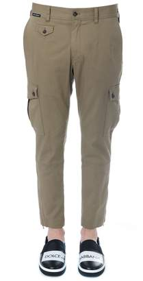 Dolce & Gabbana Khaki Cotton Cargo Trousers