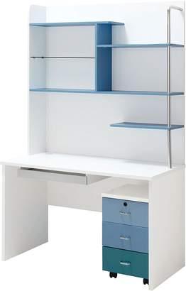 OliandOla Blue Lover Computer Desk with Bookshelf