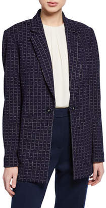St. John Graphic Boucle Windowpane Knit Jacket