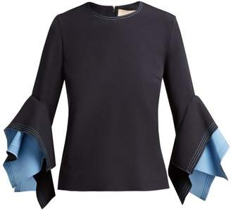 Roksanda Flared Sleeve Cady Top - Womens - Dark Blue