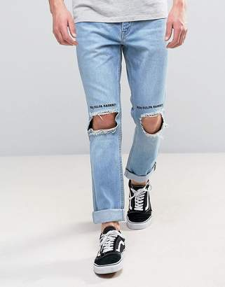 Kubban Slim Rolled Hem Jeans with Blown Out Knees