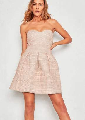 Missy Empire Missyempire Jennette Metallic Pink Bandeau Mini Dress