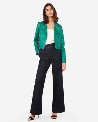 Express Vegan Leather Cropped Zip Moto Jacket
