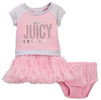 Juicy Couture Pink Raglan Sweatshirt Top & Tulle Bottom Dress (Baby Girls 12-24M)