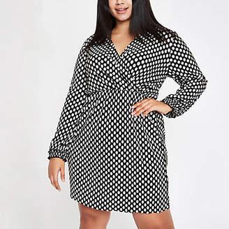 River Island Womens Plus Black spot plisse wrap swing dress