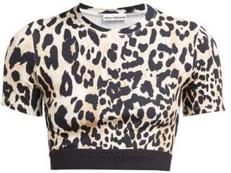 Paco Rabanne Leopard Print Stretch Jersey Crop Top - Womens - Leopard