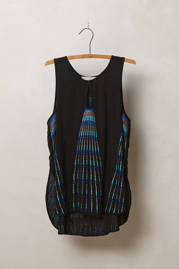Anthropologie Embroidered Pavone Tank