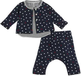 Petit Bateau Star-Print Cardigan & Pants w/ Striped Top, Size 1-12 Months