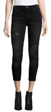 True Religion Halle Cropped Skinny Moto Jeans $249 thestylecure.com