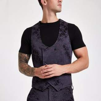 River Island Purple floral double-breasted vest