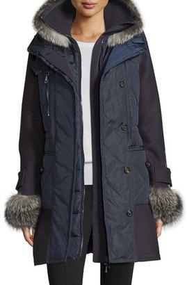 Moncler Elestoria Two-Piece Puffer Coat w/Fur Trim, Navy $4,945 thestylecure.com