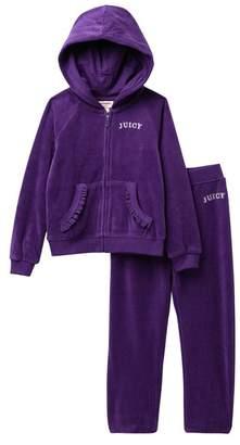 Juicy Couture Purple Hearts Velour Hoodie & Pants Set (Toddler Girls)