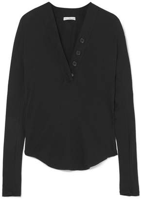 James Perse Ribbed Cotton-jersey Top - Black