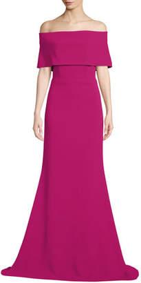 Lela Rose Off-the-Shoulder A-Line Evening Gown