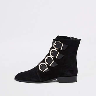 River Island Black leather buckle detail boots