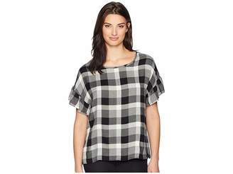 True Grit Dylan by Washed Rayons Buffalo Check Plaid Ruffle Short Sleeve Blouse