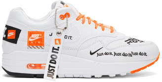 Nike White and Orange Air Max 1 LX Sneakers