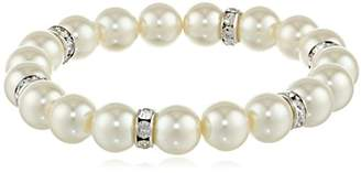 1928 Jewelry Pearl Essentials Silver-Tone White and Crystal Stretch Bracelet