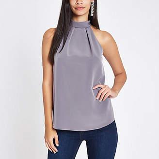 River Island Womens Purple halter neck top