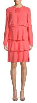 Valentino Long-Sleeve Tiered Dress
