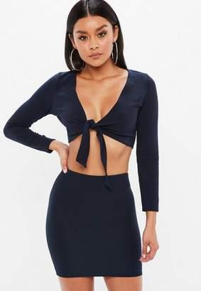 Missguided Petite Navy Long Sleeve Crop Top
