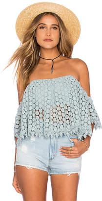 Tularosa Amelia Crop Top in Blue $168 thestylecure.com