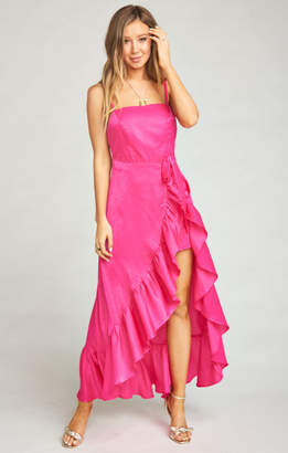 MUMU Rocco Romper Maxi Dress ~ Flirty Fuchsia Sheen
