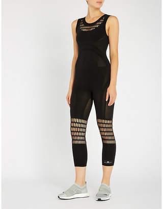 adidas by Stella McCartney Perforated stretch-knit leotard