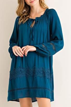 Entro Teal Crochet-Trim Dress