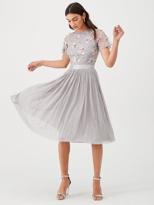 Very Embellished Tulle Bridesmaid Prom Dress - Grey