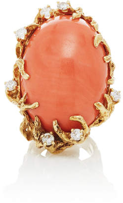 Mahnaz Collection One-Of-A-Kind Coral And Diamond On 18K Gold Ring By Arthur King C.1970