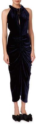 Magda Butrym Hilo Ruched Velvet Halter Midi Dress