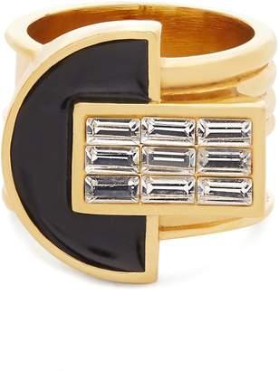 CERCLE AMÉDÉE Night Owl crystal-embellished enamel ring