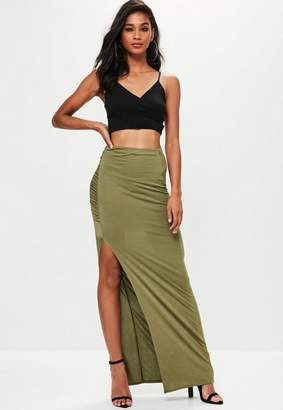 Missguided Khaki Slinky Ruched Maxi Skirt