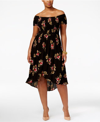 American Rag Trendy Plus Size Off-The-Shoulder A-Line Dress, Only at Macy's $69.50 thestylecure.com