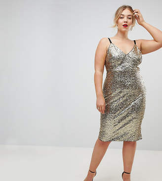Club L Plus Cami Strap All Over Sequin Dress