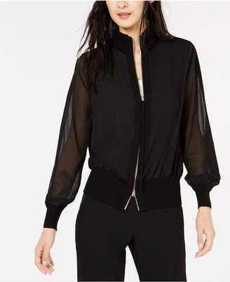 Marella Sheer-Sleeve Bomber Jacket