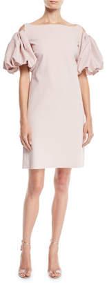 Chiara Boni Isla Cold-Shoulder Dress w/ Puff Sleeves