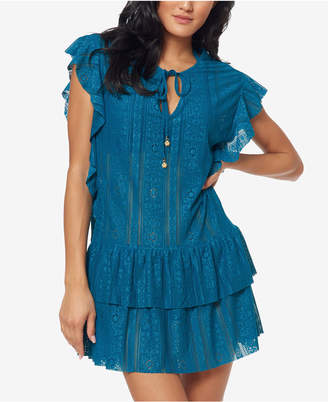 Jessica Simpson Crochet Waist-Frill Ruffle Detail Tunic Cover-Up Women Swimsuit