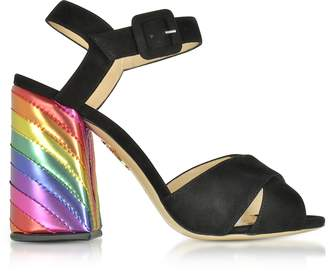 Charlotte Olympia Emma Black Suede and Rainbow Patent Leather High Heel Sandals