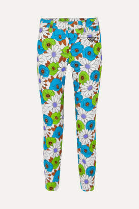 Prada Floral-print Cotton-blend Twill Skinny Pants - Green