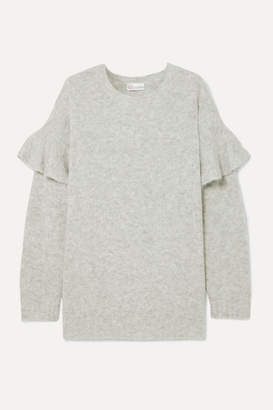 RED Valentino Ruffled Knitted Sweater - Gray