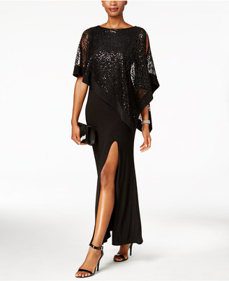 R & M Richards Sequined Lace Cold-Shoulder Cape Gown $99 thestylecure.com