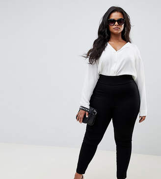 Asos DESIGN Curve pull on jegging in clean black