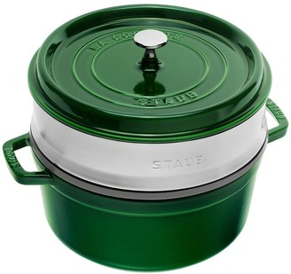 Staub Enamelled Cast Iron Round Cocotte with Steamer 26cm Basil Green 5.2L