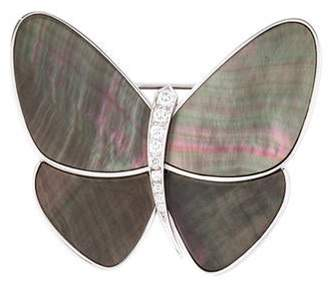 Van Cleef & Arpels Mother of Pearl & Diamond Butterfly Clip white Mother of Pearl & Diamond Butterfly Clip