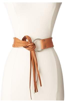 Frye 45mm Pebble Leather Fringe Belt with Ring Buckle Women's Belts