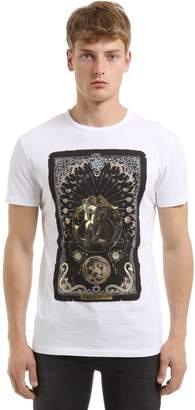 Roberto Cavalli Moon & Logo Print Cotton Jersey T-Shirt