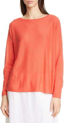 Eileen Fisher Bateau Neck Organic Linen & Cotton Tunic